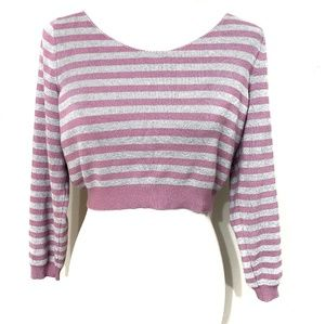 Free People Gray and Pink Striped Crop Sweater